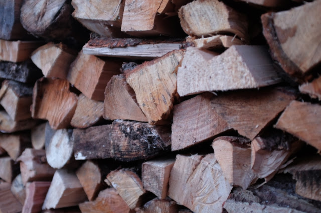 Winter logs stacked for the castle fire places. NC500 Castles