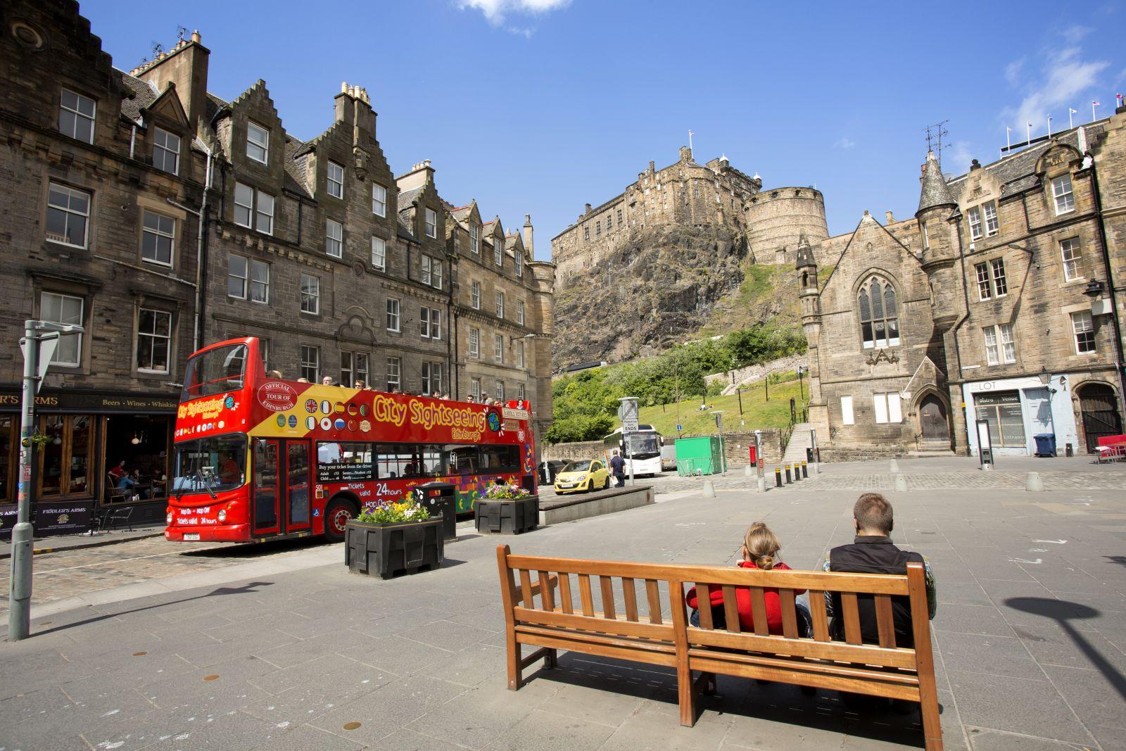 Exploring Edinburgh's city centre on foot