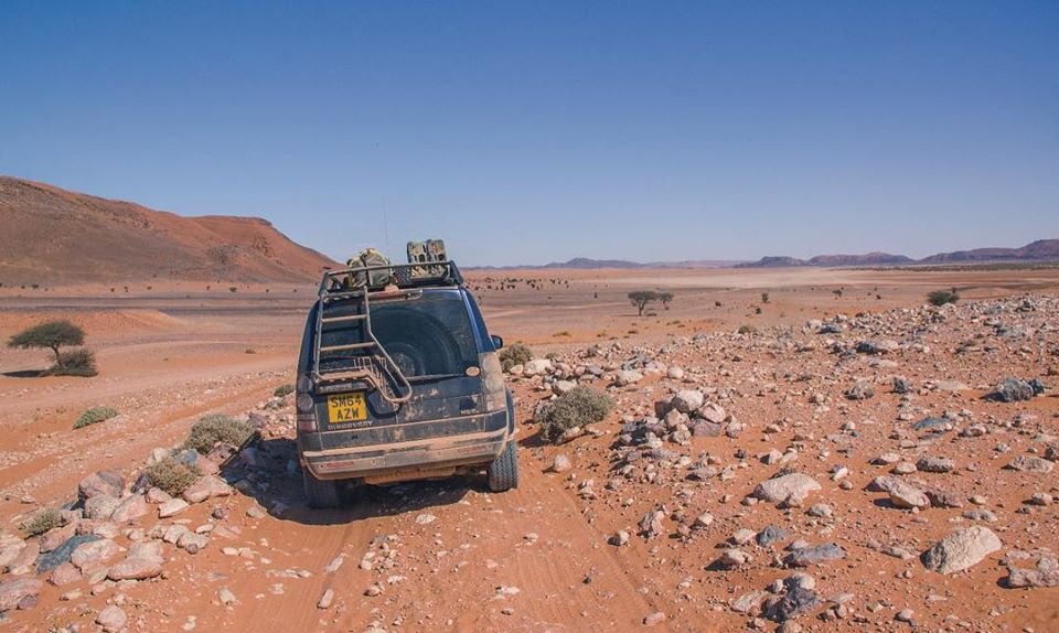 Expedition Roof Rack loaded on Discovery 4 - Land Rover trips with Sandgrouse Travel & Expeditions